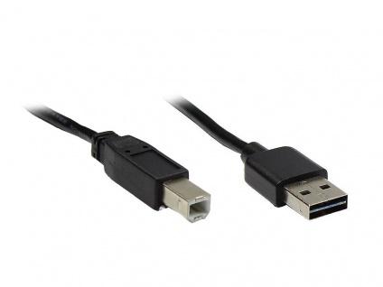 Anschlusskabel USB 2.0 EASY Stecker A an Stecker B, schwarz, 5m, Good Connections®