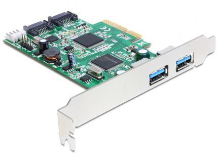 PCI Express Karte mit 2 x extern USB 3.0, 2 x intern SATA 6 Gb/s, Delock® [89359]