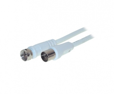Antennenkabel F-Stecker an Koax-Buchse, gerade, weiß, 3, 5m, Good Connections®