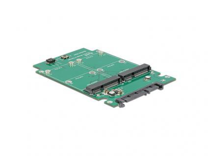 Konverter SATA 22 Pin an 2 x mSATA mit RAID, 2, 5', Delock® [62594]