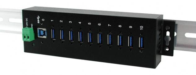 10 Port USB 3.0/ 3.1 (Gen.1) Metall HUB, 10x Buchse A, Upstream Buchse B, verschraubbar, 15KV ESD Überspannungsschutz, Exsys® [EX-1110HMVS]