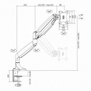 Aluminium Monitor-Schreibtischhalterung, neigbar -90____deg;/+90____deg;, schwenkbar -90____deg;/+90____deg;, drehbar -90____deg;/+90____deg;, 13'-32', LogiLink® [BP0042]