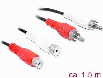 Verlängerungskabel 2x Cinch Stecker an 2x Cinch Buchse, schwarz, 1, 5m, Delock® [84937]