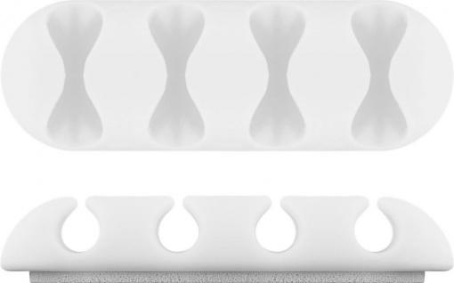 Kabelmanagement 4-Slots mit 3M Klebefläche, weiß, 2er-SET