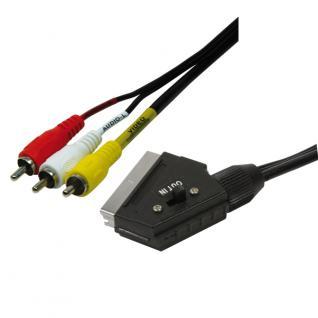 Anschlusskabel Scart an 3x RCA Stecker, schwarz, 2m, LogiLink® [CA1029]