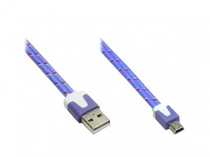Anschlusskabel USB 2.0 Stecker A an Stecker Mini B 5-pin, Flachkabel, Textil, lila, 2m, Good Connections®