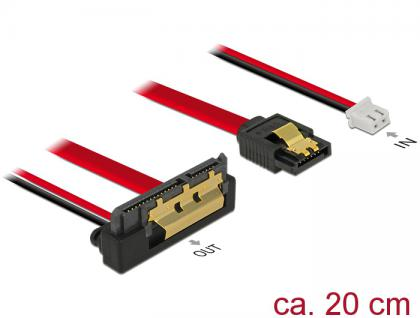 Kabel SATA 6 Gb/s 7 Pin Buchse + 2 Pin Strom Buchse an SATA 22 Pin Buchse unten gewinkelt (5V), Metall 0, 2m, Delock® [85241]