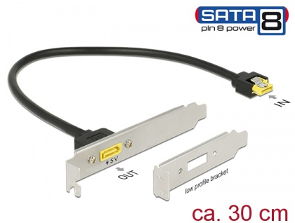 Slotblech SATA 6 Gb/s Buchse intern an SATA Stecker Pin 8 Power extern 30 cm , Delock® [84952]