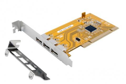 PCI USB 2.0 Karte mit 3-Ports (NEC Chip-Set), inkl. Low Profile Bügel, Exsys® [EX-1083]
