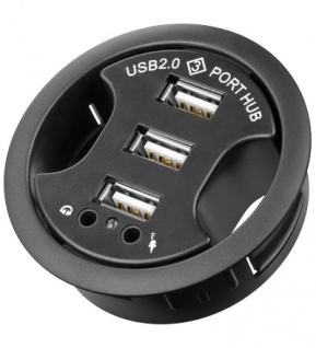 USB 2.0 Hub 3-Port + 2 x 3, 5mm Audio-Buchsen zum Einbau in Schreibtisch-Kabeldurchführungen