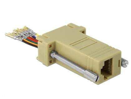 Adapter Sub-D 9 Pin Buchse an RJ45 Buchse, Montagesatz, grau, Delock® [66164]