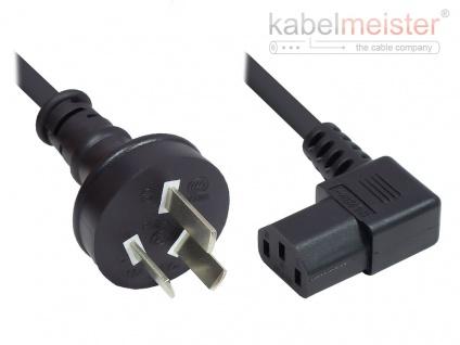 kabelmeister® Netzkabel China Netz-Stecker Typ I (gerade) an C13 (rechts gewinkelt), CCC, schwarz, 0, 75 mm², 1, 8 m