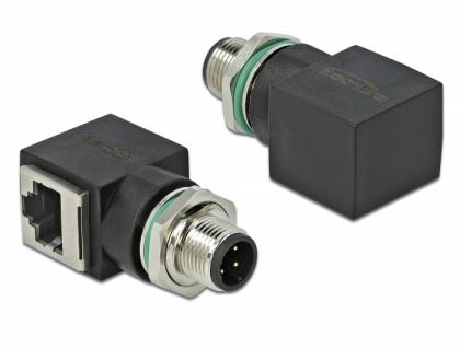 Netzwerkadapter M12 4 Pin D-kodiert Stecker an RJ45 Buchse, Delock® [66313]
