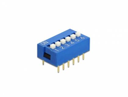 DIP-Schiebeschalter 6-stellig 2, 54 mm Rastermaß THT vertikal blau 10 Stück, Delock® [66097]