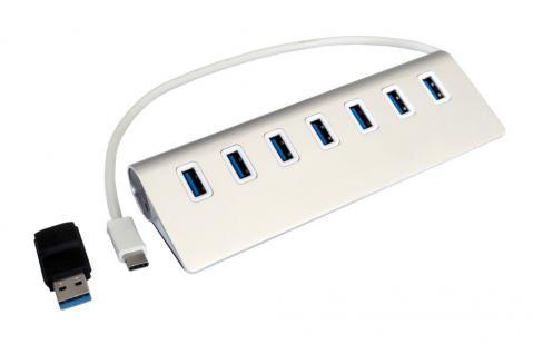 USB 3.0 HUB 7-Port, 7x Buchse A, USB 3.0 Kabel mit C-Stecker, inkl. Adapter A-Stecker auf C-Buchse, Metallgehäuse, Exsys® [EX-1137]
