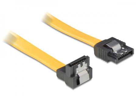 SATA 3 Gb/s Anschlusskabel 70cm unten/gerade Metall gelb, Delock® [82482]