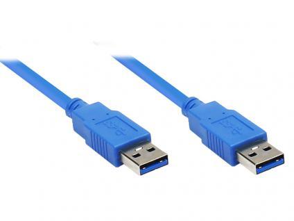 kabelmeister® Anschlusskabel USB 3.0 Stecker A an Stecker A, 1m, blau
