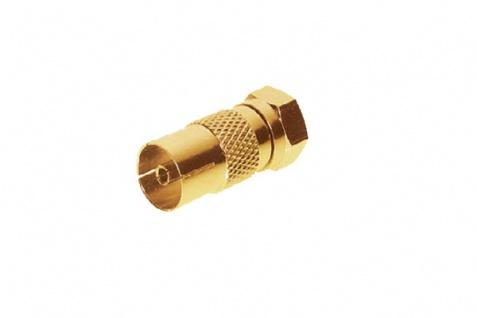 kabelmeister® SAT-Adapter Koax Buchse auf F-Stecker, vergoldet