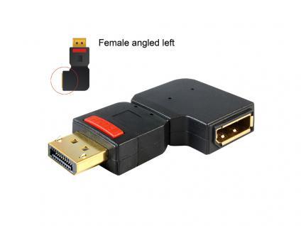 Adapter Displayport Stecker an Displayport Buchse gewinkelt links, Delock® [65377]