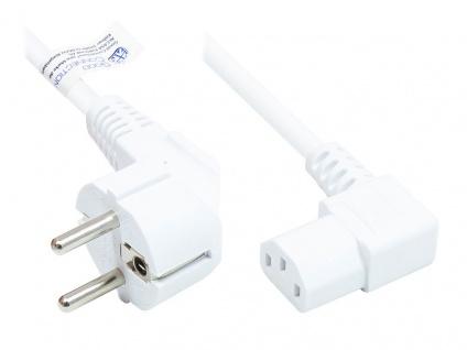 Netzkabel Schutzkontakt-Stecker Typ E+F (CEE 7/7, gewinkelt) an C13 (rechts gewinkelt), weiß, 1, 00 mm², 3 m, Good Connections®