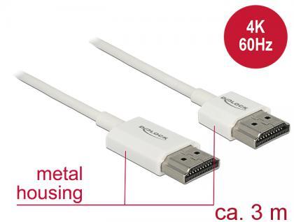 Kabel High Speed HDMI mit Ethernet, Stecker A an Stecker A, 3D, 4K, AKTIV, Slim High Quality, weiß, 3m, Delock® [85138]