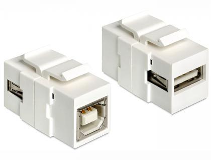 Keystone Jack, USB 2.0 A Buchse an USB 2.0 B Buchse, Delock® [86320]