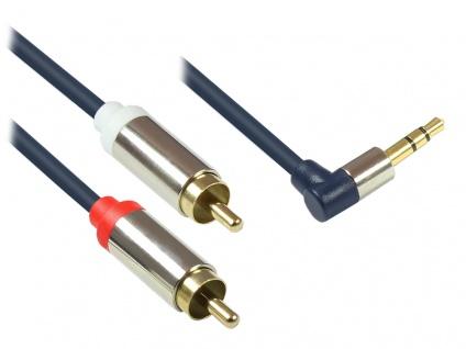 Kabelmeister® Audio Anschlusskabel High-Quality 3, 5mm, Klinkenstecker rechts abgew. an 2x RCA Stecker, Vollmetallgehäuse, dunkelblau, 5m
