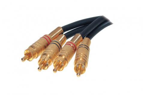 kabelmeister® Stereocinchkabel, 2 Metallcinchstecker auf 2 Metallcinchstecker, vergoldet, 0, 5m