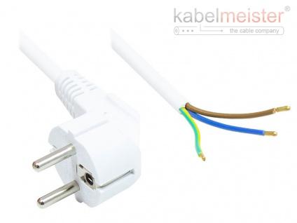 kabelmeister® Netzkabel Schutzkontakt-Stecker Typ E+F (CEE 7/7, gewinkelt) an abisolierte Enden, weiß, 0, 75 mm², 2 m