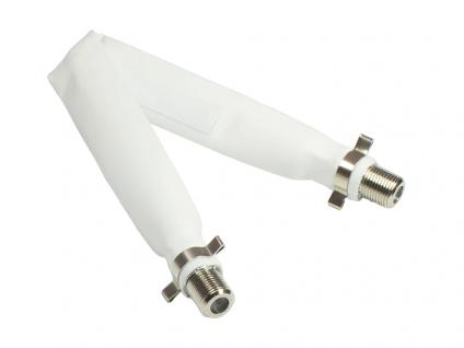 SAT Fensterdurchführung, Gesamtlänge inkl. Stecker 20cm, flexible Länge 15cm, weiß, Good Connections®
