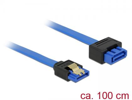 Verlängerungskabel SATA 6 Gb/s Buchse gerade an SATA Stecker mit Einrastfunktion gerade, blau, 1m, Delock® [84975]