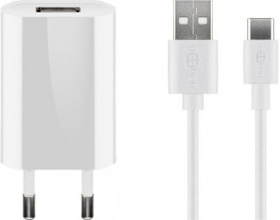 USB-Ladegerät, 1 Port, 1A, flache Bauform, inkl. Anschlusskabel USB Stecker A an USB-C™ Stecker, weiß, 1m