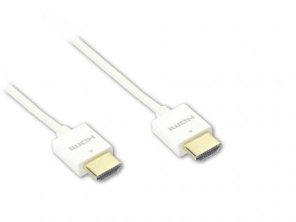 Anschlusskabel Super slim High Speed HDMI® with Ethernet, A Stecker beidseitig, weiß, 0, 5m, Good Connections®