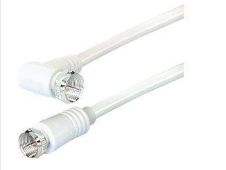 SAT Antennenkabel, F-Stecker gerade an F-Stecker gewinkelt (vernickelt), 2x geschirmt (>85dB / 75 Ohm), CCS, weiß, 1, 5m, Good Connections®