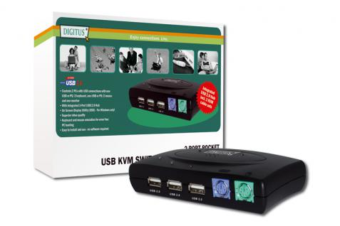 Digitus® KVM Switch 1User (PS/2 &USB), 2Pcs (USB)