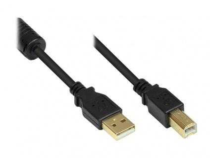 Kabelmeister® Anschlusskabel USB 2.0 Stecker A an Stecker B, mit Ferritkern, vergoldet, schwarz, 5m