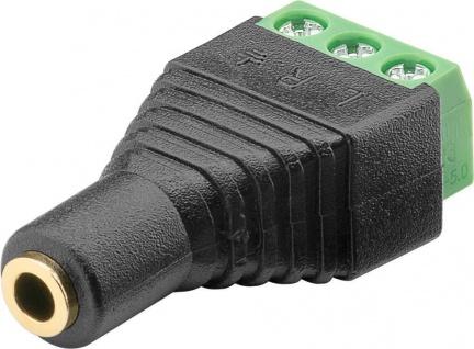 Terminal Block 3-pin an Klinke 3, 5 mm Buchse (3-Pin, stereo), Schraubbefestigung