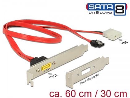 Slotblech SATA 6 Gb/s 7 Pin Buchse + Molex 2 Pin Strom Stecker intern an SATA Stecker Pin 8 Power extern, Delock® [84949]