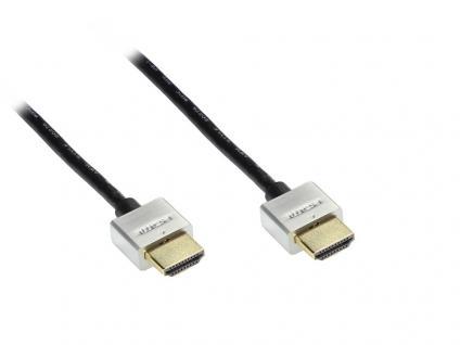 kabelmeister® Anschlusskabel High Speed HDMI mit Ethernet, Stecker vergoldet, schwarz mit Metallstecker, 3m