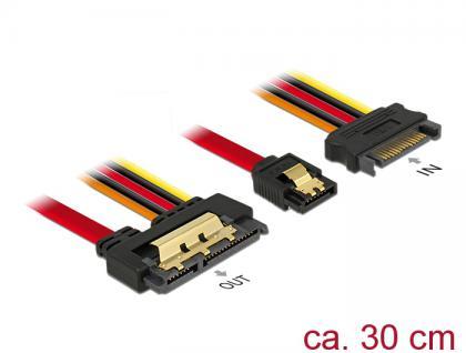Kabel SATA 6 Gb/s 7 Pin Buchse + SATA 15 Pin Strom Stecker an SATA 22 Pin Buchse gerade Metall, 0, 3m, Delock® [85228]
