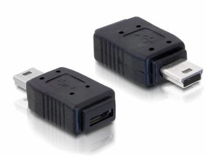 Adapter USB micro A+B Buchse an mini USB 5pin Stecker, Delock® [65155]