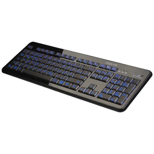 Tastatur, Tasten beleuchtet, flach, USB, Logilink® [ID0080]