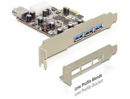 PCI Express USB 3.0 3x ext. 1x int. + LP VIA, Delock® [89281]