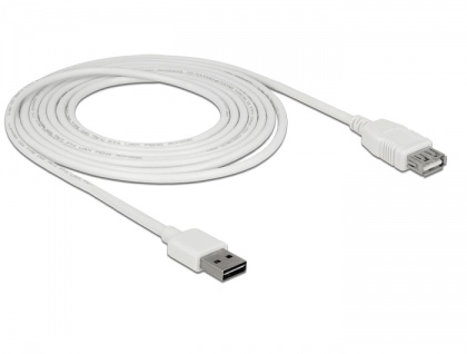 Verlängerungskabel EASY-USB 2.0 Typ-A Stecker an USB 2.0 Typ-A Buchse, weiß, 3 m, Delock® [85201]