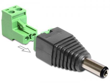 Adapter DC 2, 5 x 5, 5 mm Stecker an Terminalblock 2 Pin, 2-teilig, Delock® [65488]