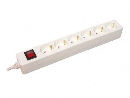 Steckdosenleiste 6-fach mit beleuchtetem Ein-/Aus- Schalter, weiß, 1, 5m