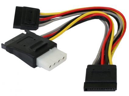 kabelmeister® S-ATA Stromkabel 15pol Platinenstecker + 5, 25' 4pin Buchse auf 2x 15pol Stecker, 0, 15m