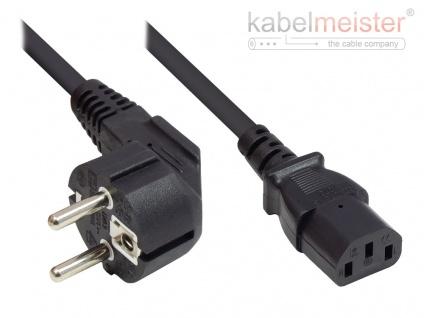 kabelmeister® Netzkabel Schutzkontakt-Stecker Typ E+F (CEE 7/7, gewinkelt) an C13 (gerade), schwarz, 0, 75 mm², 1 m