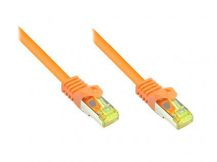 RJ45 Patchkabel mit Cat. 7 Rohkabel und Rastnasenschutz (RNS®), S/FTP, PiMF, halogenfrei, 500MHz, OFC, orange, 10m, Good Connections®