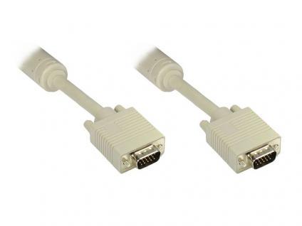 Anschlusskabel S-VGA Stecker an Stecker, grau, 10m, Good Connections®